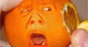 Visage cachée d'une mandarine